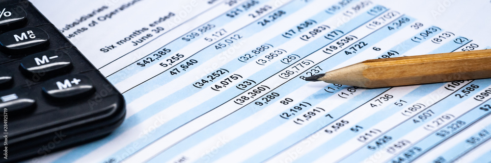 Fototapety, obrazy: Business composition. Financial analysis - income statement, business plan