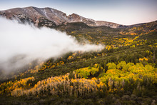 USA, Nevada, Great Basin National Park, Fog Approaches The Lehman Valley At Dawn In The Fall, Wheeler Peak In The Distance.