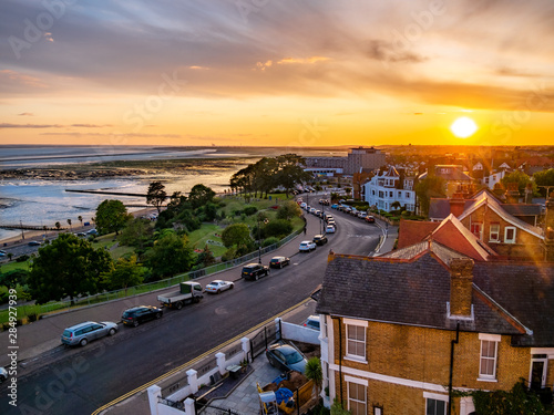 Fototapeta Aerial view of the skyline in Southend on sea village in sunset light. obraz