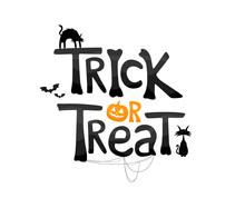 Trick Or Treat Text With Cats And Traditional Elements. Vector Illustration Isolated On White Background.