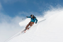 Austria, Arlberg, Man Skiing Downhill