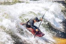 Guy In Kayak Sails Mountain Ri...