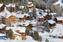 Switzerland, Arosa, View Of Chalet Houses In Snow