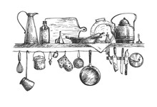 Cooking Tools And Containers On Wall