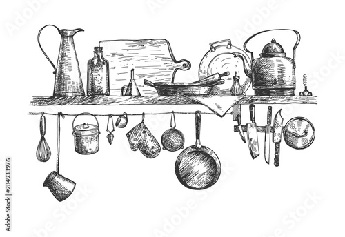 Cooking tools and containers on wall Wallpaper Mural