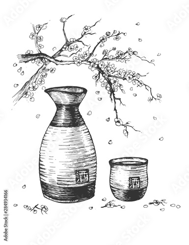 Sake in bottle and cup under Sakura Canvas Print