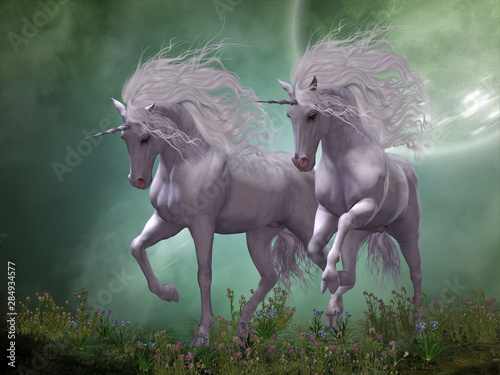 Obrazy Jednorożec   obraz-na-plotnie-moonlight-unicorns-dwa-jednorozce-tancza-wokol-niebieskich-i-ro
