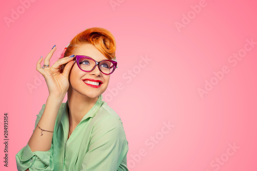 Headshot Attractive Young Woman With Glasses Canvas Print