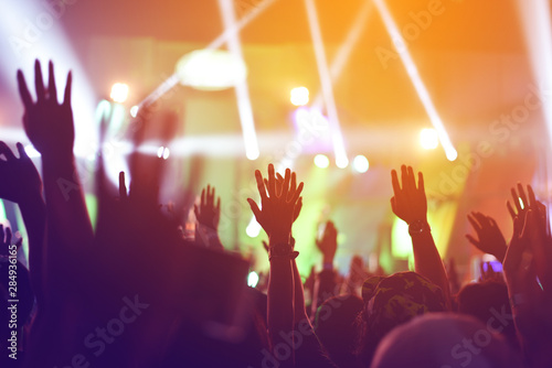 silhouettes of  , Fun concert party rock disco light background. - 284936165