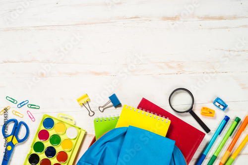 Photo sur Toile Pays d Asie School backpack with stationery on white background.