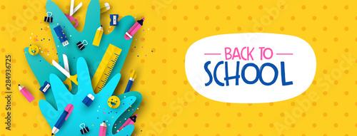 Fotomural Back to school banner fun kids papercut supplies