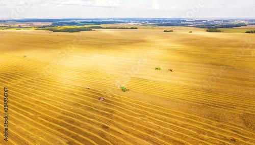Foto auf Leinwand Honig Harvester machine working in field. Combine harvester agriculture machine