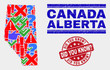 Symbolic Mosaic Alberta Province map and seal stamps. Red rounded Did You Know? scratched seal. Colored Alberta Province map mosaic of different randomized elements. Vector abstract combination.