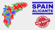 Symbol Mosaic Alicante Province map and seal stamps. Red rounded How Many? textured seal stamp. Colorful Alicante Province map mosaic of different scattered elements. Vector abstract combination.
