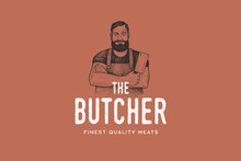 Hand Drawing Of Man Butcher In...