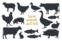 Set Of Silhouettes Farm Animal...