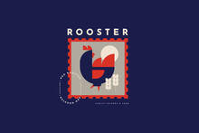Emblem For Poultry Farm And Chicken Farm. Rooster In Folk Style. Image Can Be Used For Packaging Design, Restaurant Menus, Market Design, Butcher Shops And Chicken Farm. Vector Vintage Illustration.