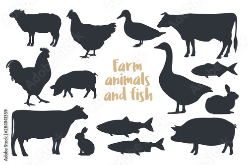 Leinwand Poster Set of silhouettes farm animals Isolated on light background