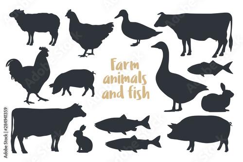 Carta da parati Set of silhouettes farm animals Isolated on light background