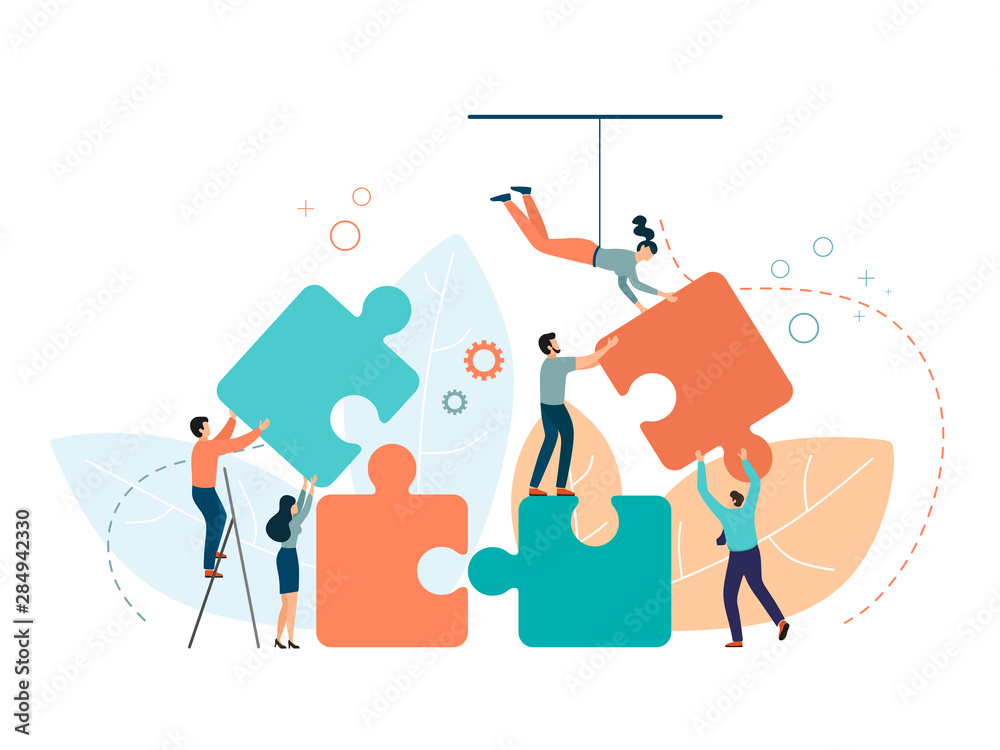 Fototapeta Business concept. People connecting puzzle elements. Symbol of teamwork, partnership, cooperation. Vector isolate on a white background in trend color.