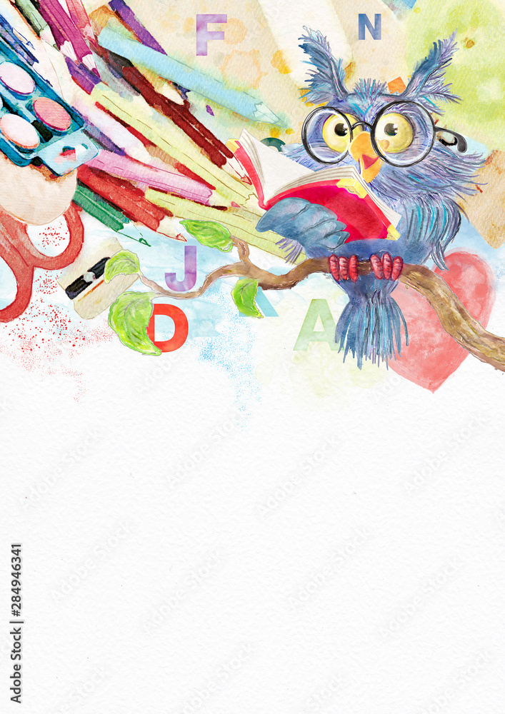 Fototapety, obrazy: Back to school. Watercolor background with owl