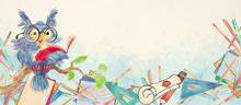 Watercolor School Banner With Owl