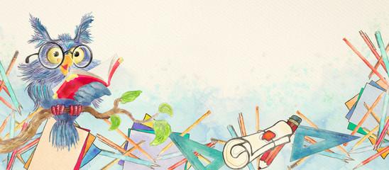 Fototapeta Do szkoły Watercolor school banner with owl