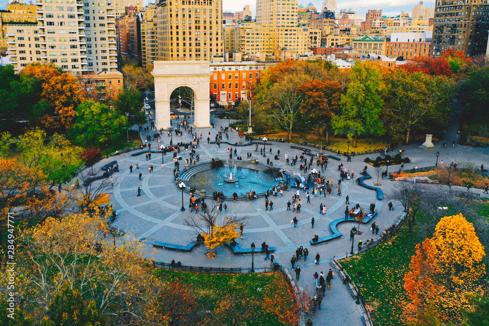 Fototapety, obrazy: Aerial view of Washington square park in Greenwich village, lower Manhattan in New York city