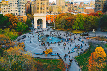 Aerial View Of Washington Square Park In Greenwich Village, Lower Manhattan In New York City