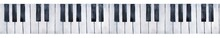 Seamless Repeatable Border Of Grunge Black And White Piano Keys. Top View; Ink Drops, Marks And Stains. Hand Painted Watercolour Drawing, Isolated Element For Design, Web Site, Card, Print, Poster.
