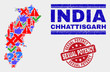 Symbolic Mosaic Chhattisgarh State map and seal stamps. Red round Sexual Potency distress seal stamp. Colorful Chhattisgarh State map mosaic of different randomized items. Vector abstract combination.