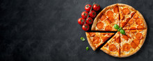 Tasty Pepperoni Pizza On Black Concrete Background. Top View Of Hot Pepperoni Pizza. With Copy Space For Text. Flat Lay. Banner