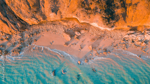 Fotobehang Oranje eclat Aerial View of Australian Beaches and Coastline of the Great Ocean Road