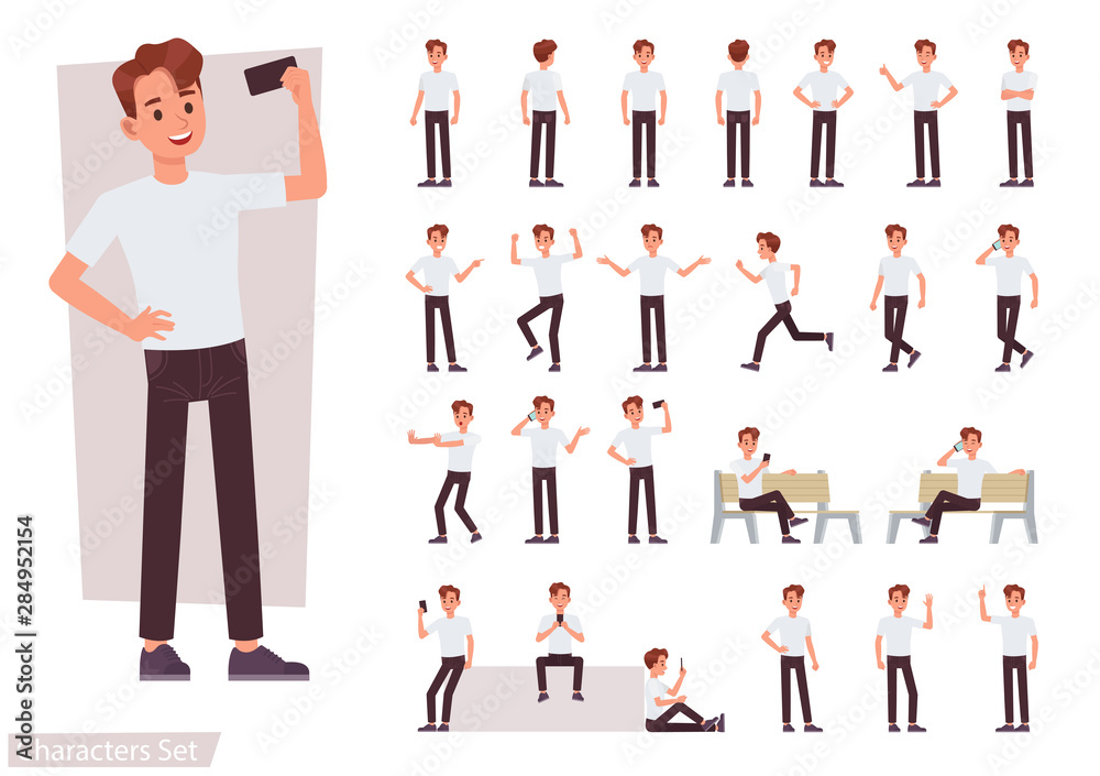 Fototapeta Set of man character vector design. Presentation in various action with emotions, running, standing and walking.
