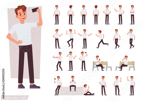 Slika na platnu Set of man character vector design