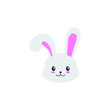 Cute bunny vector graphic icon. rabbit animal head, face illustration. Isolated on white background.