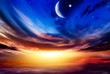 canvas print picture - Beautiful dark fluffy cloudy sky with sun rays . Crescent moon with beautiful sunset background . Generous Ramadan . New moon. Prayer time.