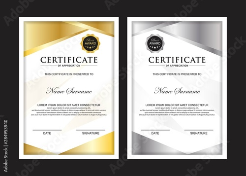 Certificate Premium set template awards diploma background vector modern value design and layout luxurious.cover leaflet elegant vertical Illustration