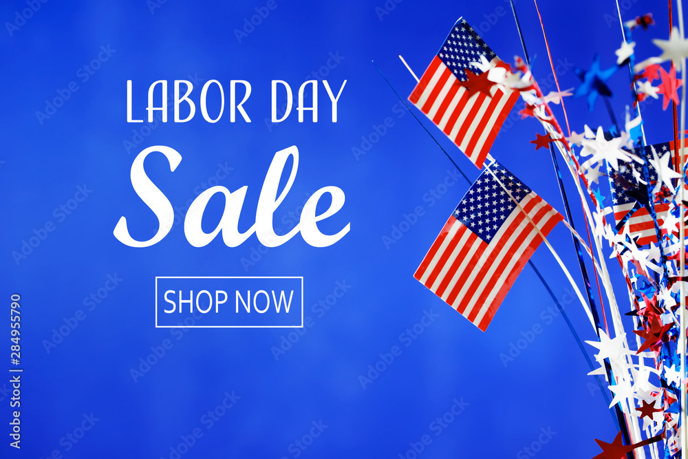 Fototapety, obrazy: Labor day sale message with flag of the United States