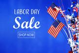 Fototapeta Kawa jest smaczna - Labor day sale message with flag of the United States