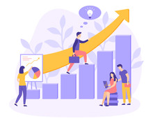 Career Growth Startup Ladder People Flat Vector