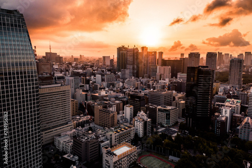 Fotomural  Aerial Drone Photo - Skyline of the city of Tokyo, Japan at sunrise