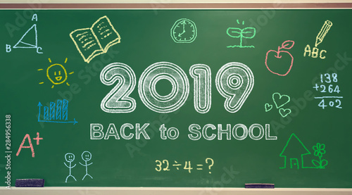 Back to School 2019 message with colorful hand drawings Canvas Print