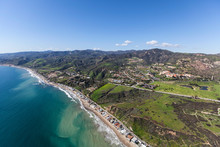 Aerial View Of Shoreline Homes Coastal Mountains Near Los Angeles And Santa Monica In Malibu, California.