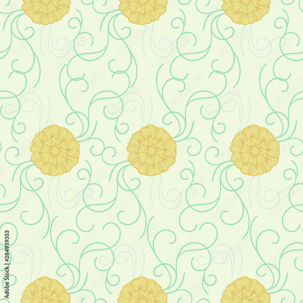 Green and gold swirl seamless repeat pattern. Featuring marigolds inspired by art-nouveau ceramics, you can enjoy this seamless pattern on packaging, wallpaper, backgrounds, or any way you like it!