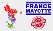 Sign Mosaic Mayotte Islands map and seal stamps. Red rounded French Fries scratched seal. Colored Mayotte Islands map mosaic of different randomized items. Vector abstract combination.
