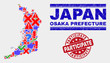 Sign Mosaic Osaka Prefecture map and seal stamps. Red rounded Participate scratched watermark. Colorful Osaka Prefecture map mosaic of different randomized icons. Vector abstract composition.