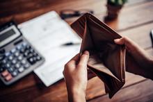Empty Money In Wallet, Concept...