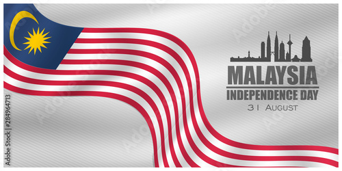 Cuadros en Lienzo  Malaysia INDEPENDENCE DAY and Malaysia flag translation (31 ogos selamat hari me