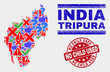 Symbol Mosaic Tripura State map and seal stamps. Red round No Child Used distress seal stamp. Colorful Tripura State map mosaic of different random icons. Vector abstract combination.